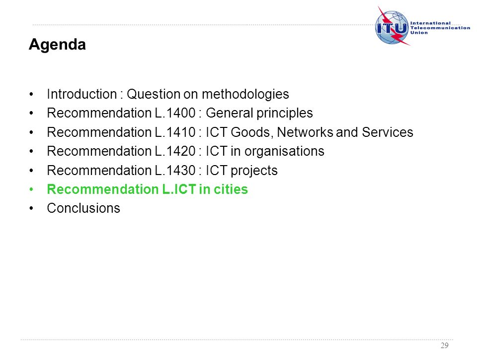 Agenda Introduction : Question on methodologies