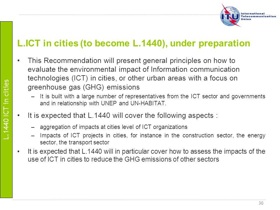 L.ICT in cities (to become L.1440), under preparation