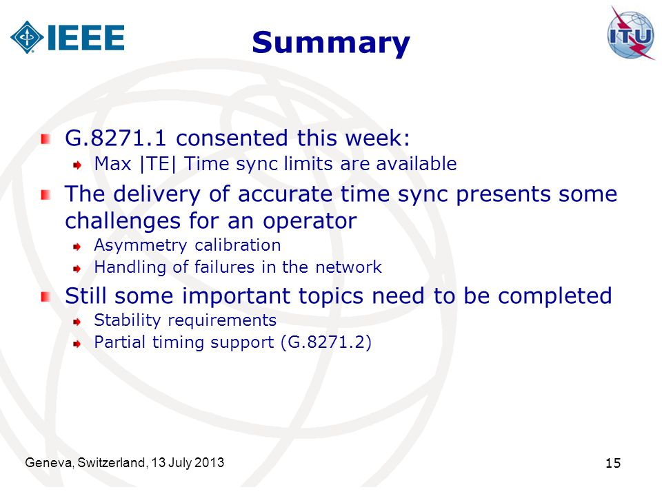 Summary G.8271.1 consented this week: