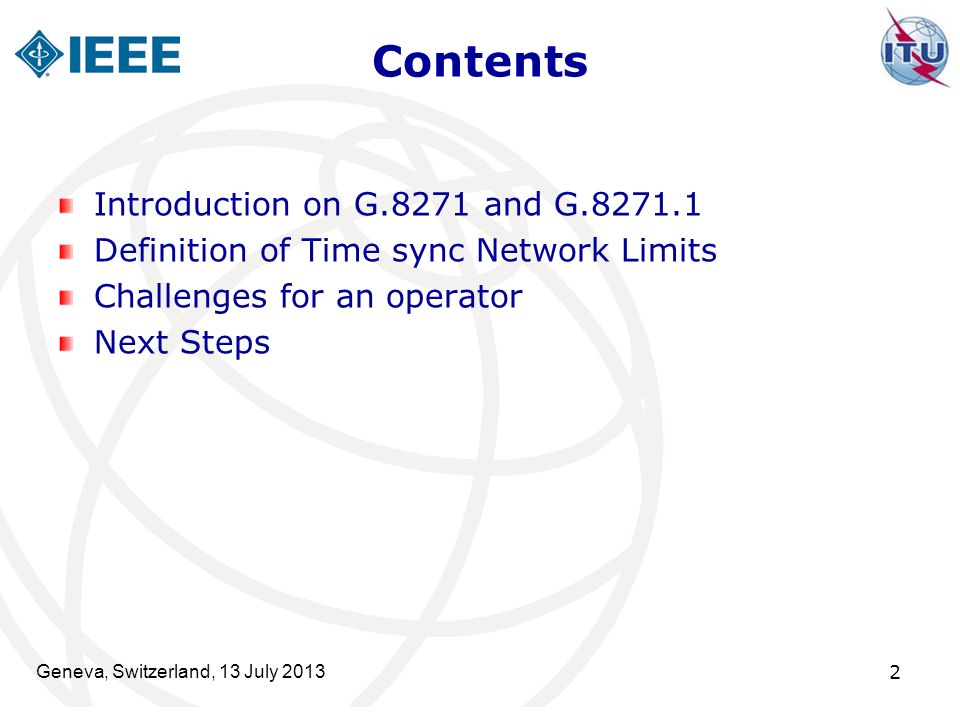 Contents Introduction on G.8271 and G.8271.1