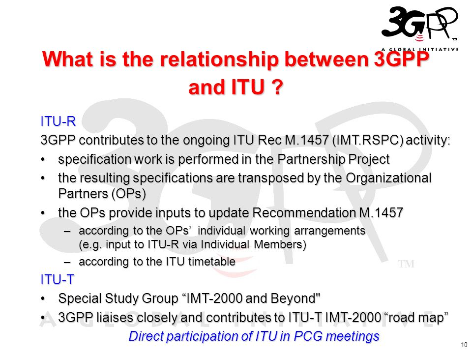 What is the relationship between 3GPP and ITU