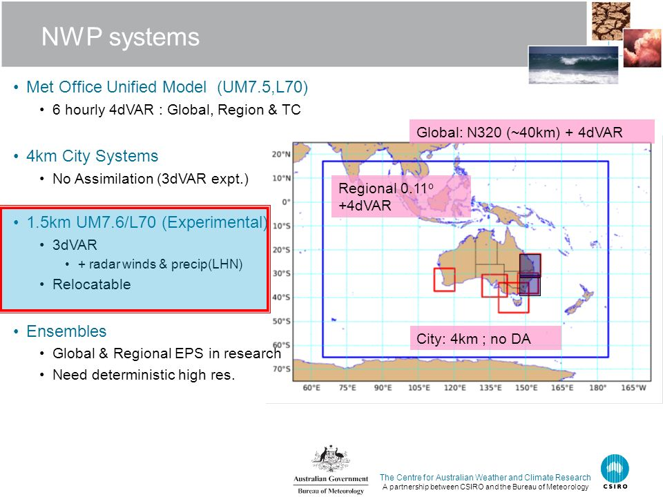 NWP systems Met Office Unified Model (UM7.5,L70) 4km City Systems