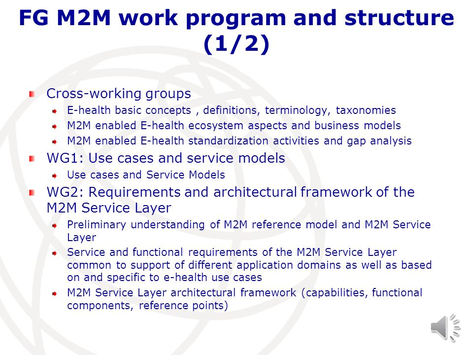 FG M2M work program and structure (1/2)