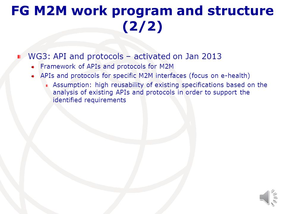 FG M2M work program and structure (2/2)