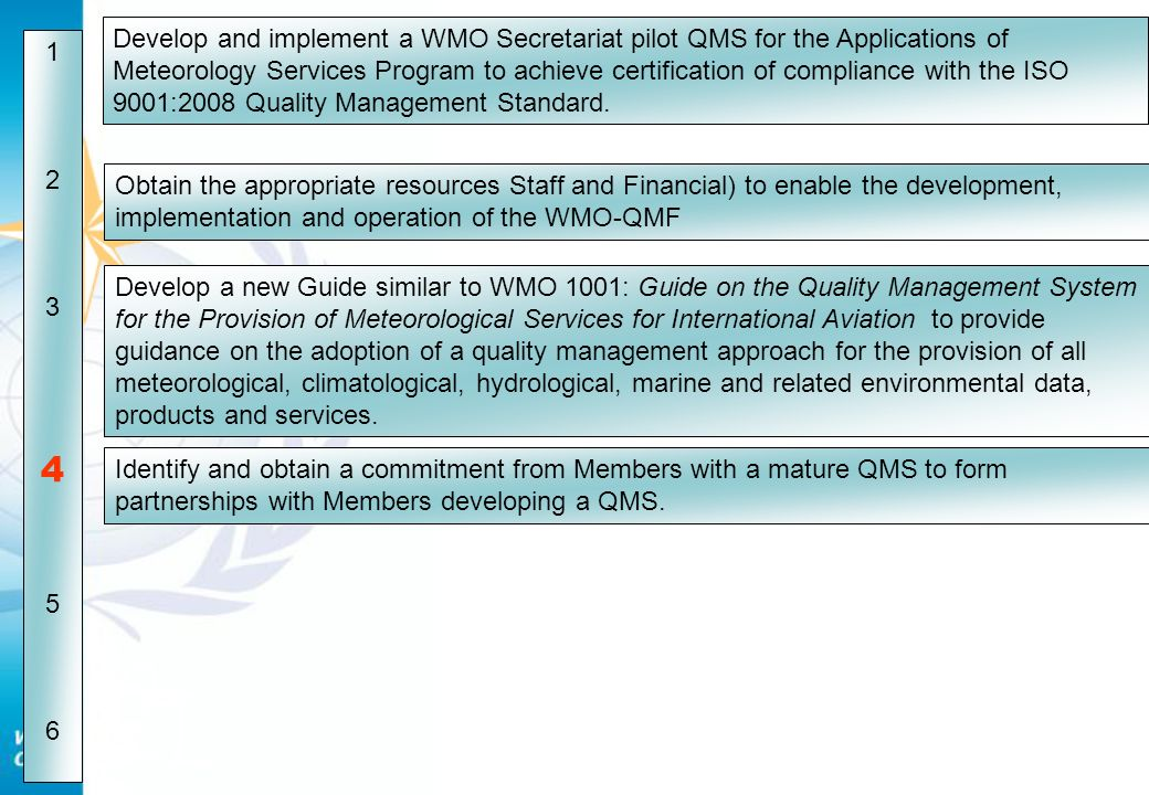 Develop and implement a WMO Secretariat pilot QMS for the Applications of Meteorology Services Program to achieve certification of compliance with the ISO 9001:2008 Quality Management Standard.