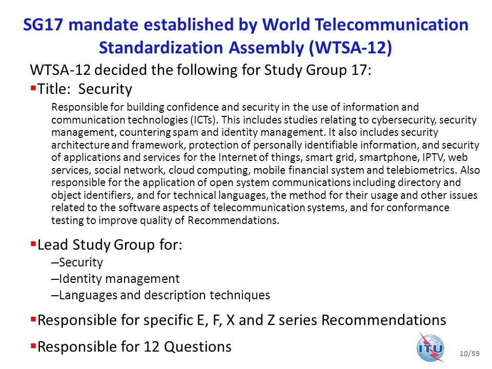 SG17 mandate established by World Telecommunication Standardization Assembly (WTSA-12)