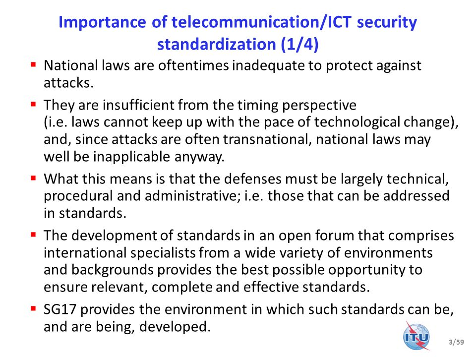 Importance of telecommunication/ICT security standardization (1/4)
