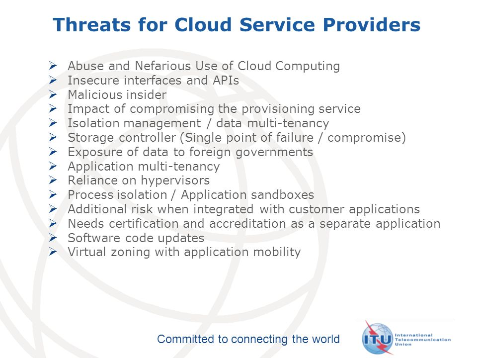 Threats for Cloud Service Providers