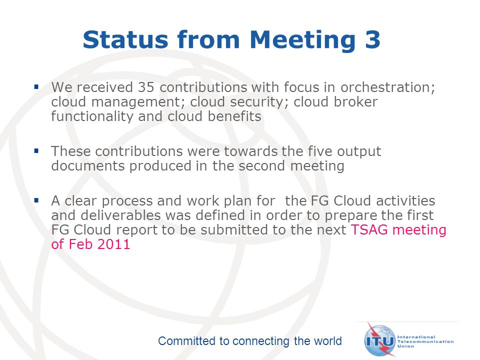 Status from Meeting 3