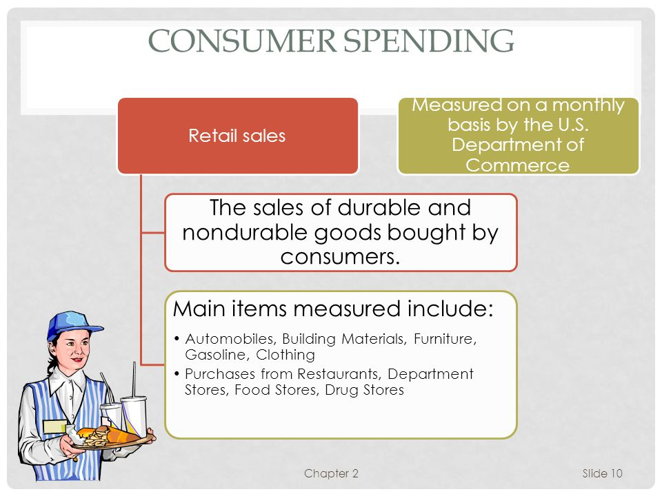 CONSUMER SPENDING Retail sales. The sales of durable and nondurable goods bought by consumers. Main items measured include: