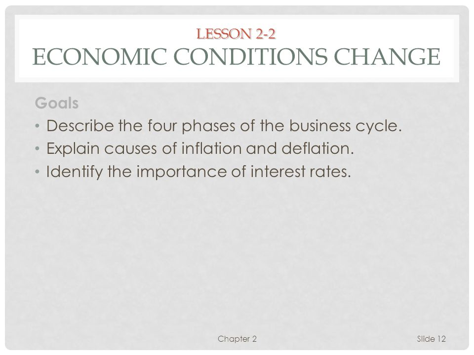 LESSON 2-2 Economic Conditions Change