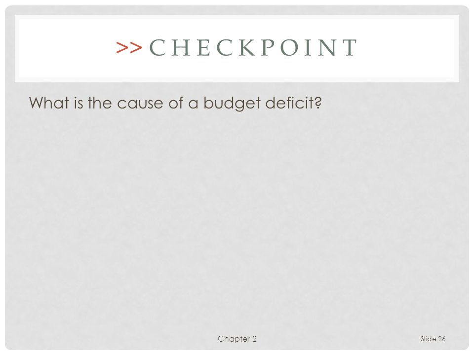 >> C H E C K P O I N T What is the cause of a budget deficit