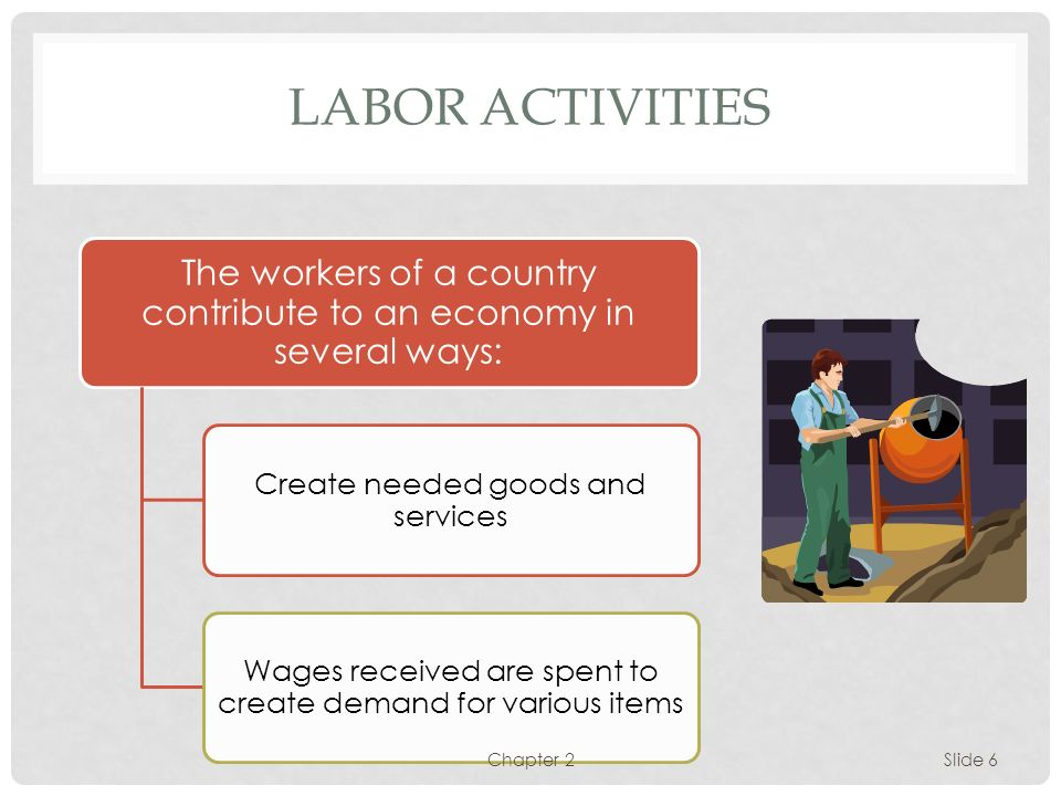 LABOR ACTIVITIES The workers of a country contribute to an economy in several ways: Create needed goods and services.