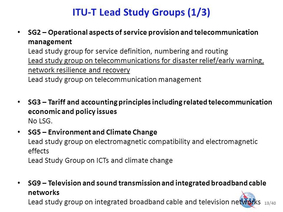 ITU-T Lead Study Groups (1/3)