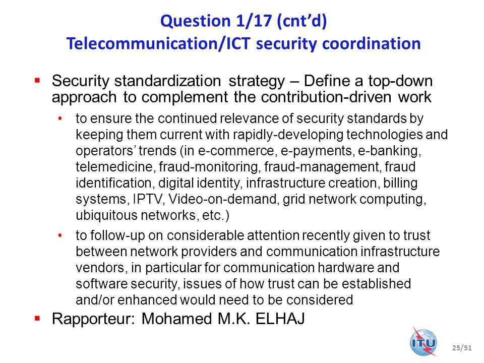 Question 1/17 (cnt'd) Telecommunication/ICT security coordination