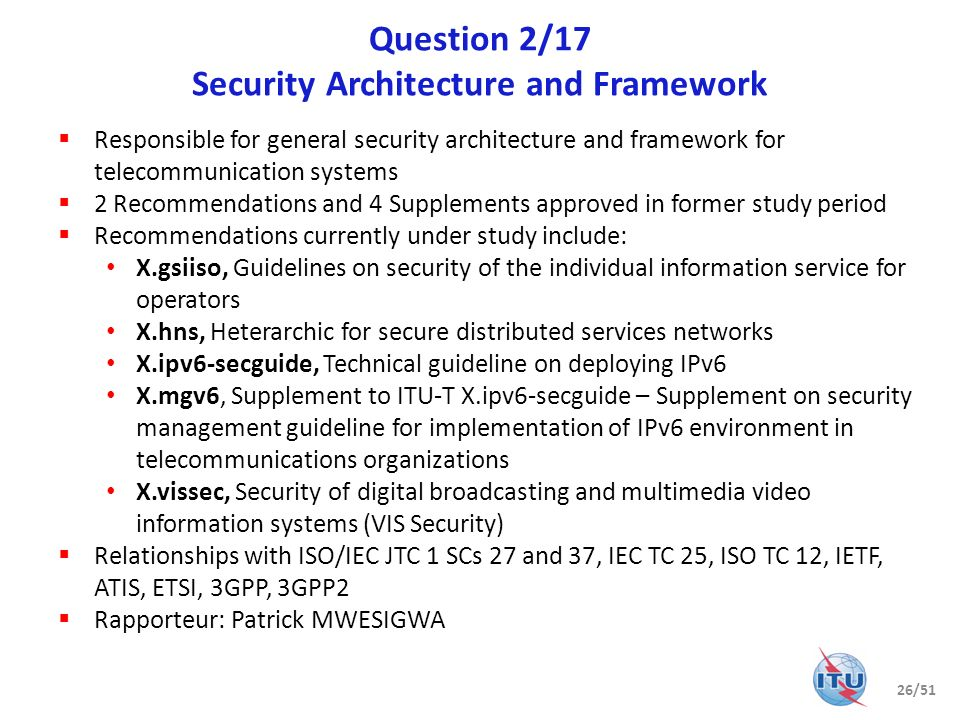 Question 2/17 Security Architecture and Framework