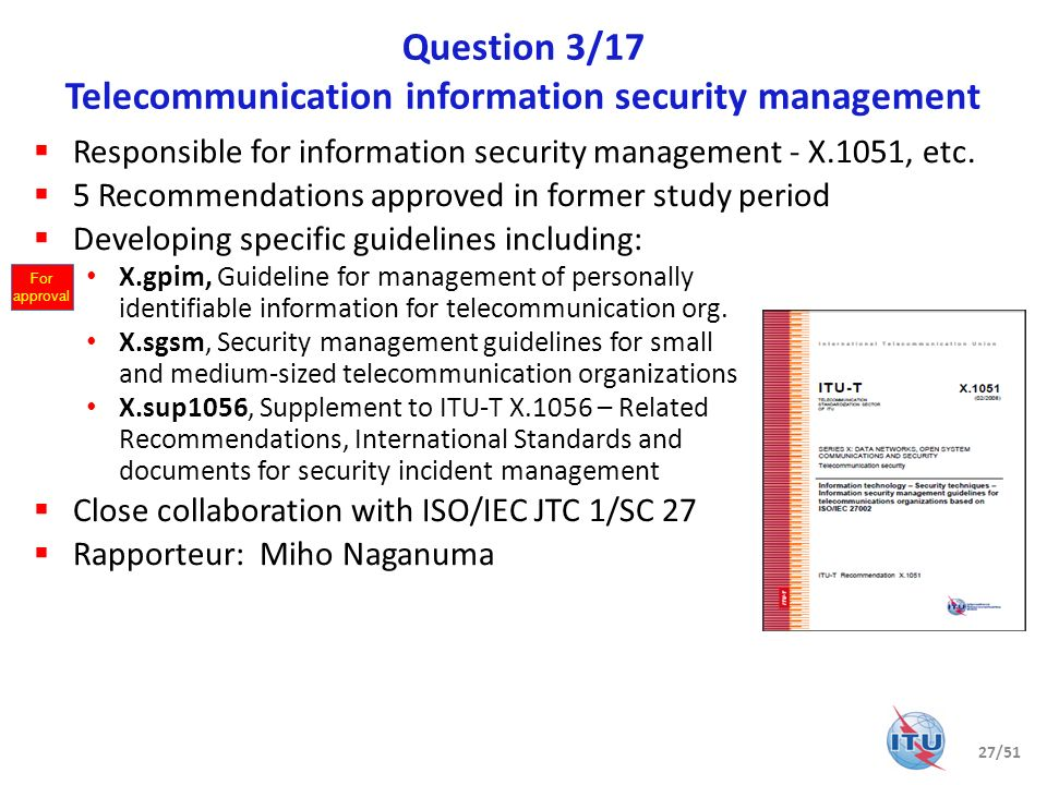 Question 3/17 Telecommunication information security management