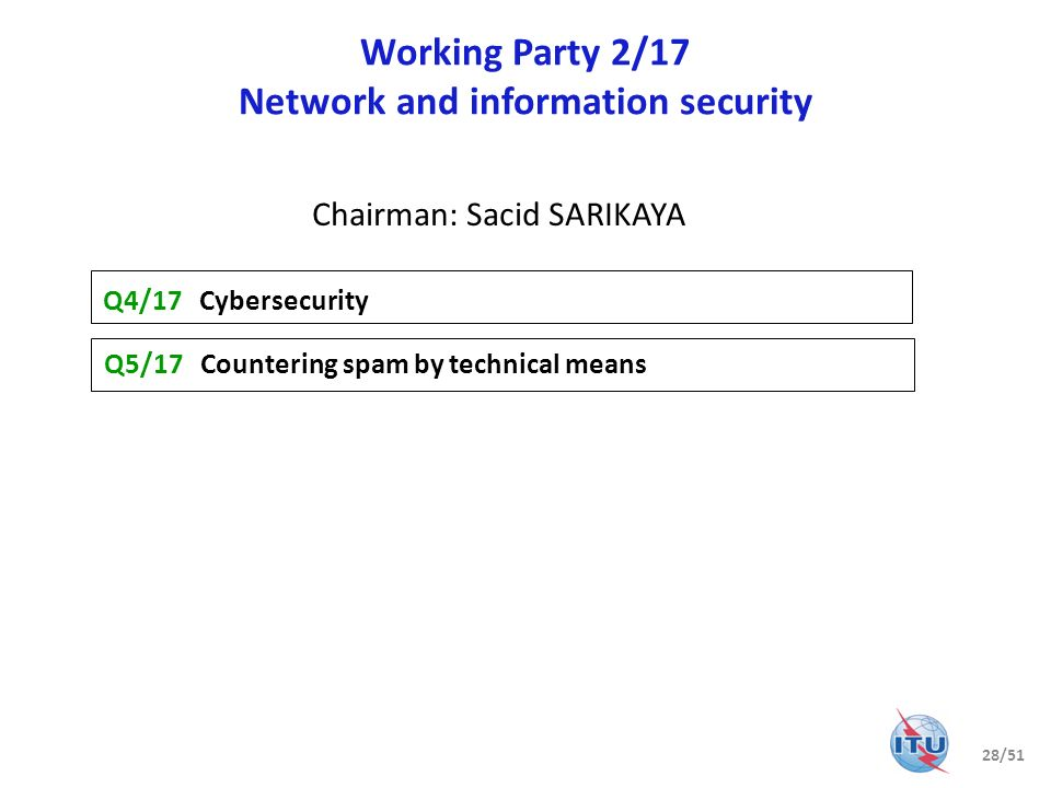 Working Party 2/17 Network and information security