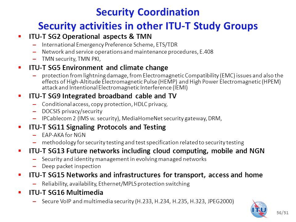 Security Coordination Security activities in other ITU-T Study Groups