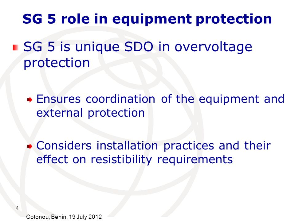 SG 5 role in equipment protection