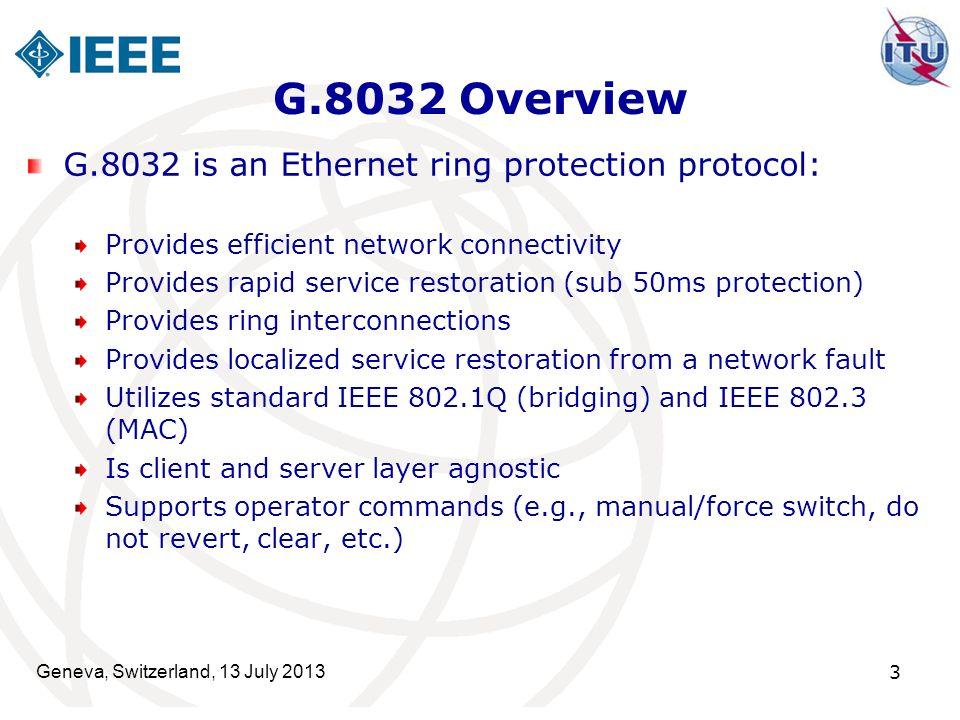 G.8032 Overview G.8032 is an Ethernet ring protection protocol: