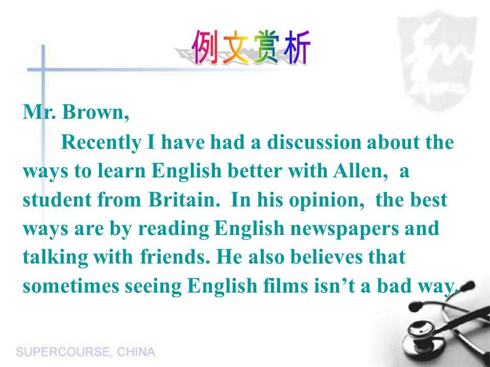 例文赏析 Mr. Brown,