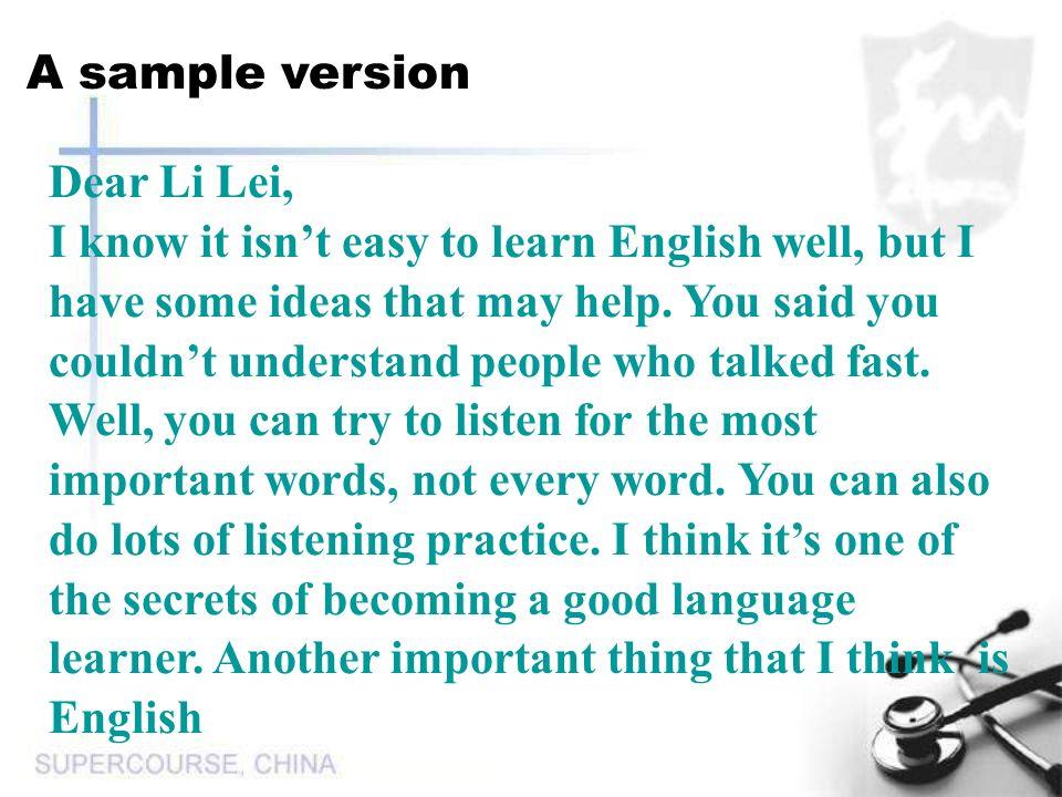 A sample version Dear Li Lei,