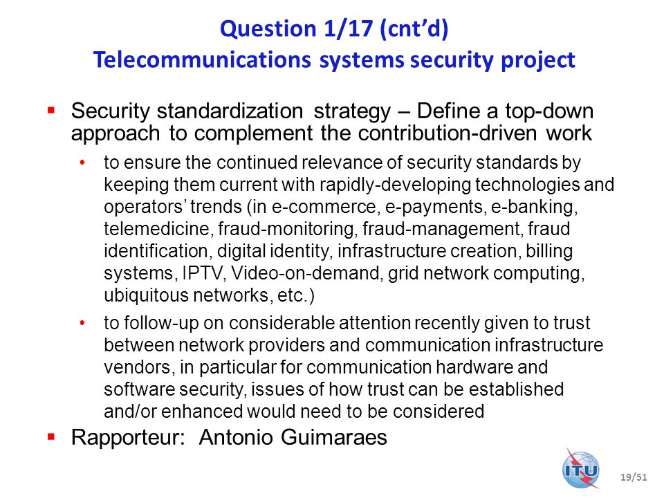 Question 1/17 (cnt'd) Telecommunications systems security project