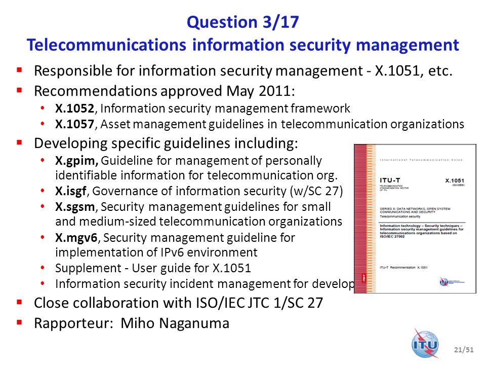 Question 3/17 Telecommunications information security management