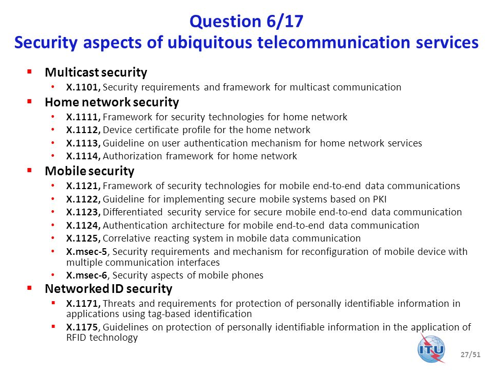 Question 6/17 Security aspects of ubiquitous telecommunication services