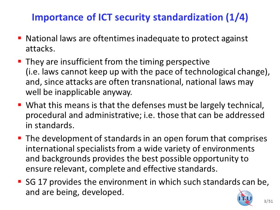 Importance of ICT security standardization (1/4)