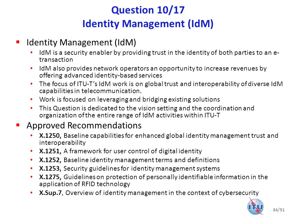 Question 10/17 Identity Management (IdM)