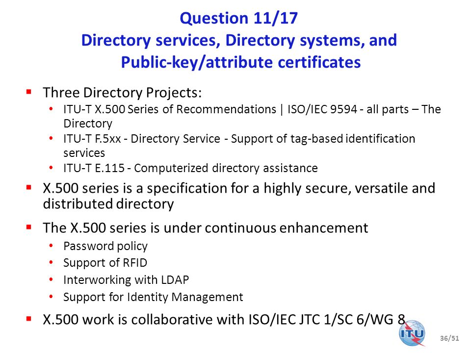 Question 11/17 Directory services, Directory systems, and Public-key/attribute certificates