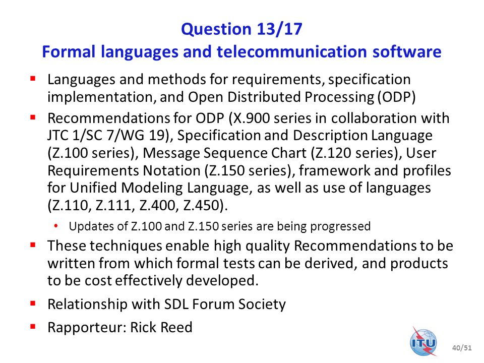 Question 13/17 Formal languages and telecommunication software