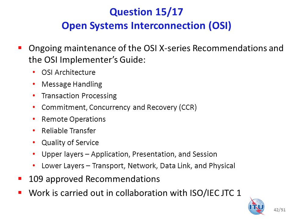Question 15/17 Open Systems Interconnection (OSI)