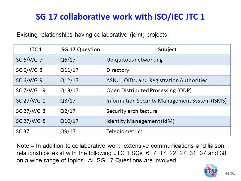 SG 17 collaborative work with ISO/IEC JTC 1