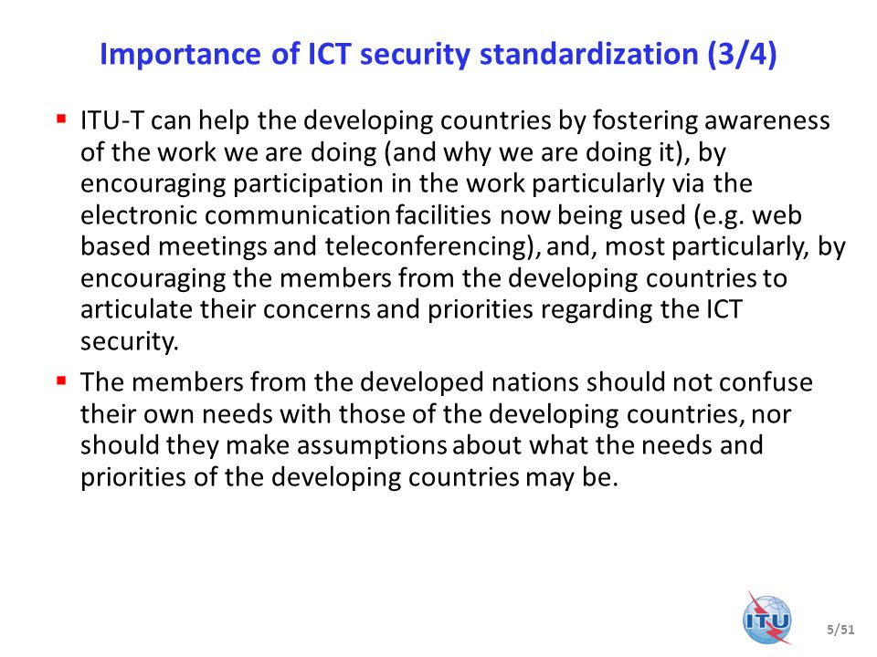 Importance of ICT security standardization (3/4)