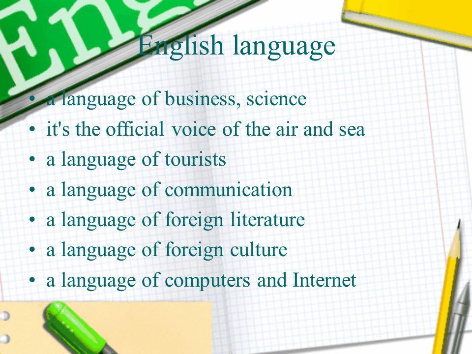English language a language of business, science