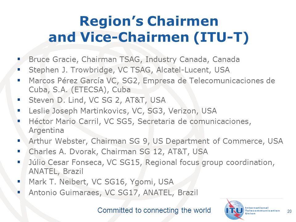Region's Chairmen and Vice-Chairmen (ITU-T)