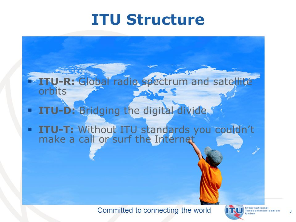 ITU Structure ITU-R: Global radio spectrum and satellite orbits