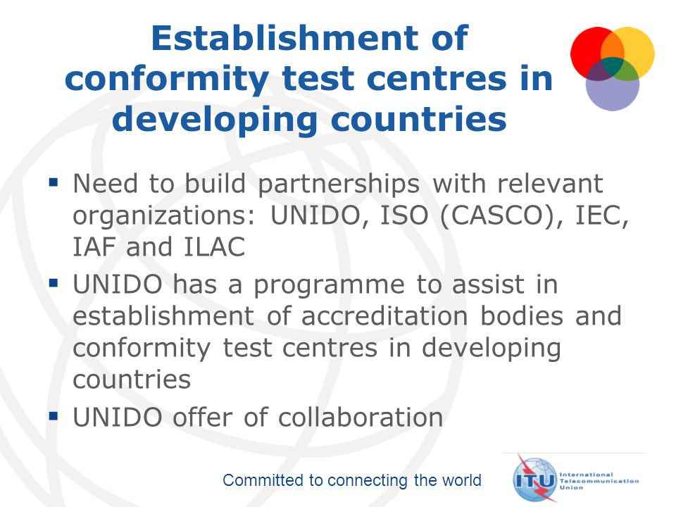 Establishment of conformity test centres in developing countries