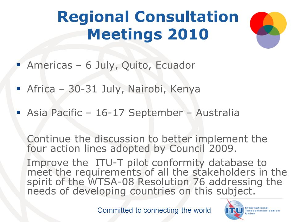 Regional Consultation Meetings 2010