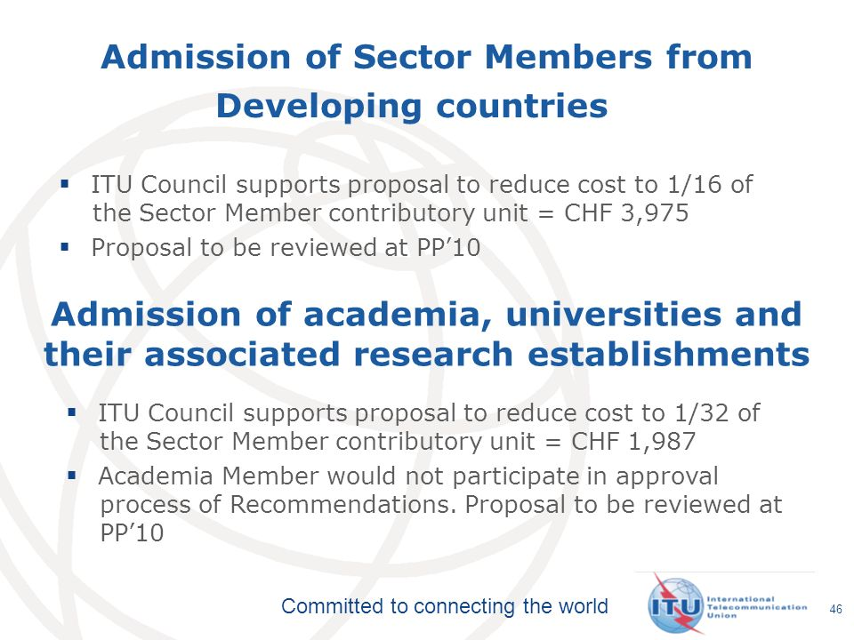 Admission of Sector Members from Developing countries