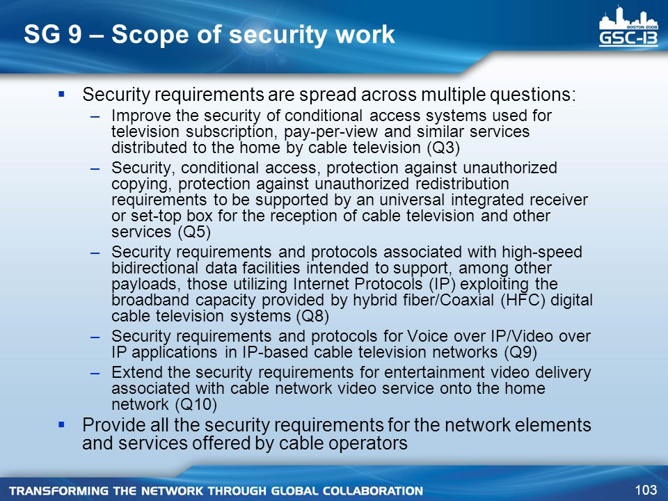 SG 9 – Scope of security work