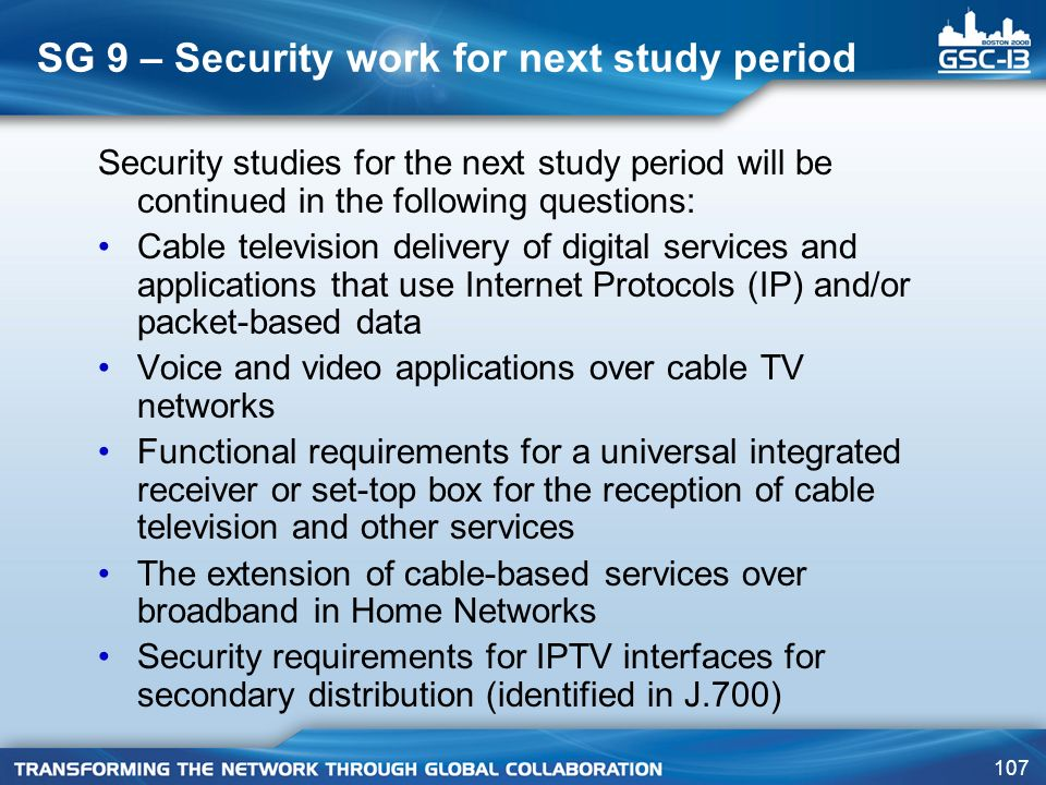 SG 9 – Security work for next study period