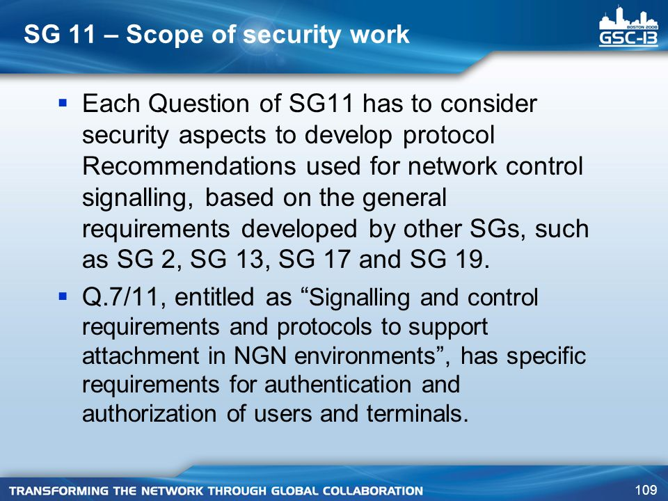 SG 11 – Scope of security work