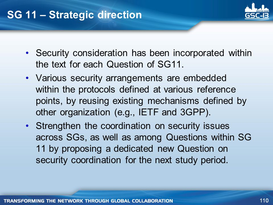 SG 11 – Strategic direction