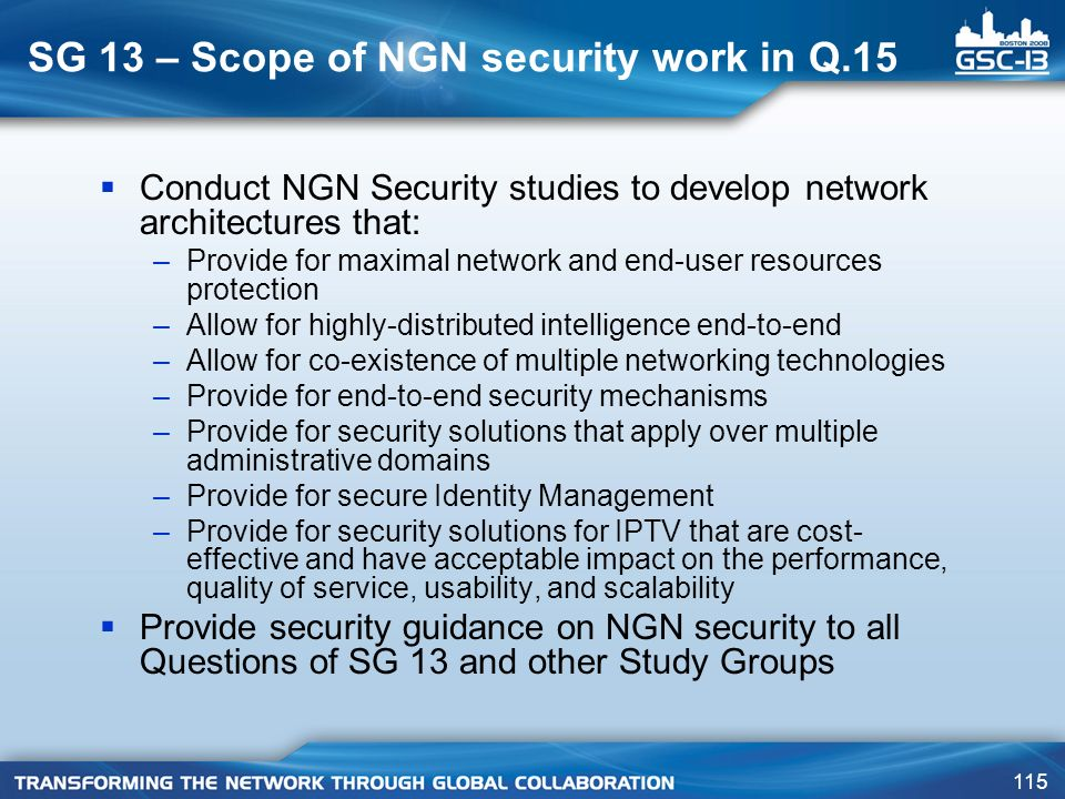 SG 13 – Scope of NGN security work in Q.15