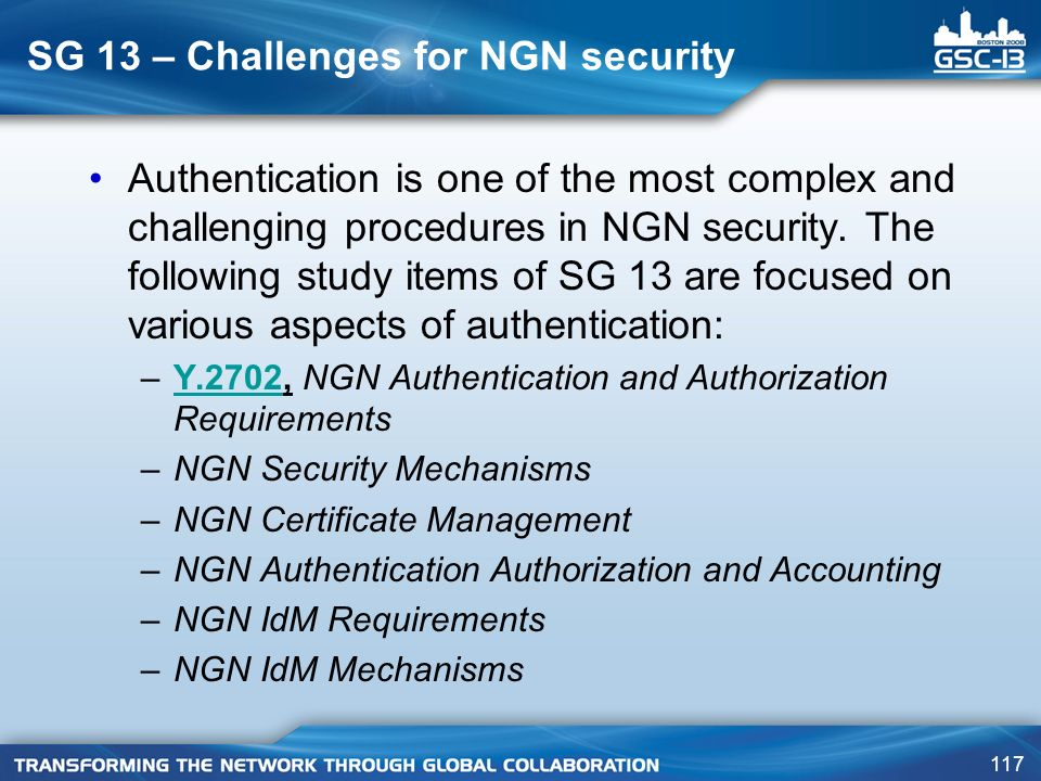 SG 13 – Challenges for NGN security