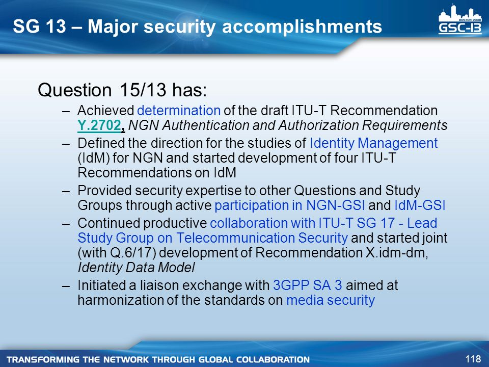 SG 13 – Major security accomplishments